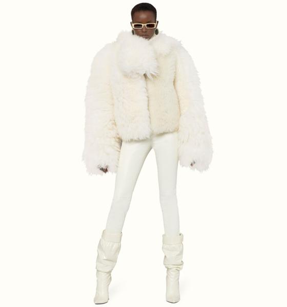 Veste perfecto en peau lainée couleur Cream, 100 % cuir d'agneau, Fenty.