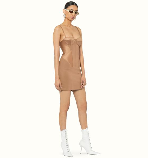Mini robe bustier bi-matière couleur Cappuccino, coupe sculptante près du corps d'inspiration lingerie avec armatures à la poitrine et bretelles fines, Fenty.