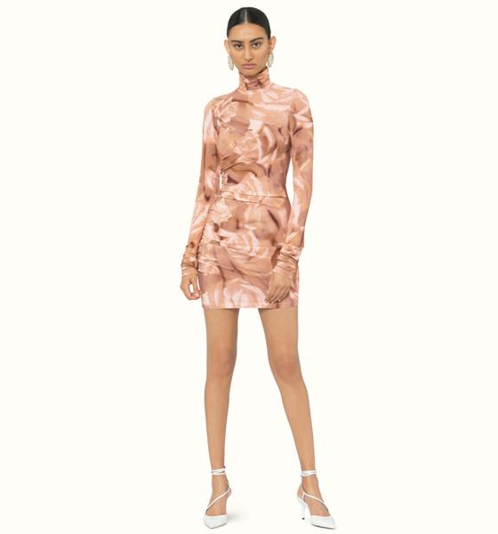 Robe courte et près du corps à imprimé floral couleur Iced Rose, Fenty.