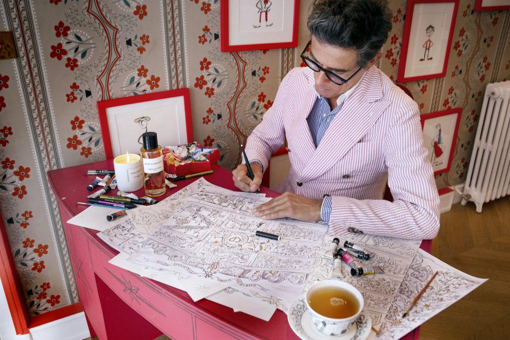 Le calendrier de l'Avent Dior, dessiné par le décorateur et artiste français Vincent Darré.